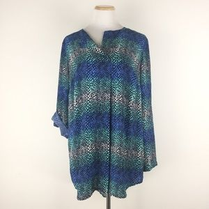 Pure Energy Size 1X Printed Tunic Top